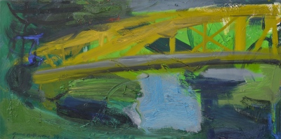 """Dzeltenais tilts"". Audekls / eļļa, 50x100 cm ""The Yellow Bridge"" Canvas / Oil, 50x100 cm"
